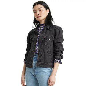 Levi's Womens Original Utility Trucker Jacket Puff Sleeve Denim Black Size Large